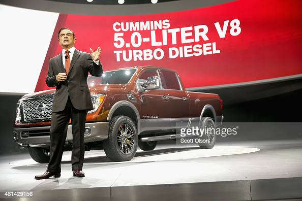 Carlos Chosn President and Chief Executive Officer at Nissan introduces the new Titan pickup at the North American International Auto Show on January...