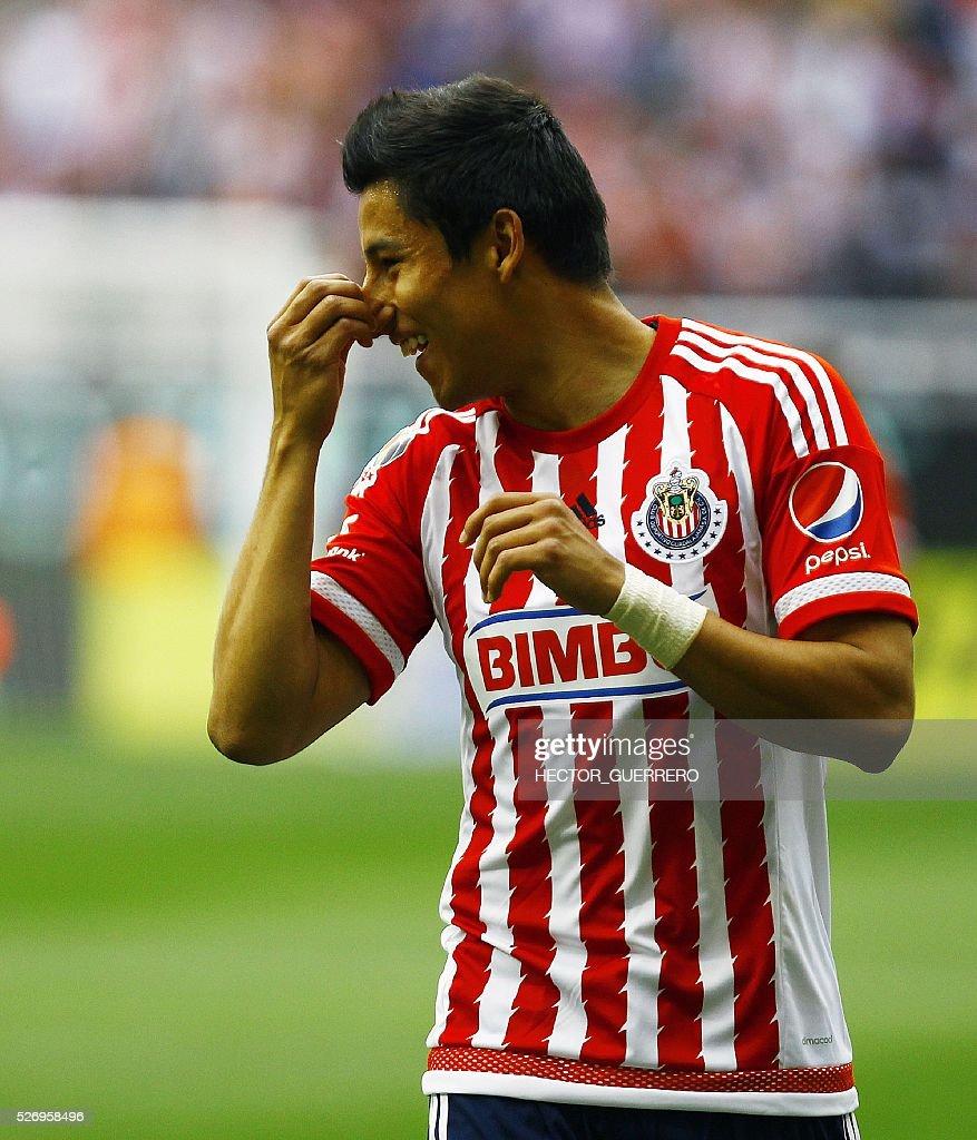 Carlos Cisneros of Guadalajara celebrates after scoring against Dorados during their Mexican Clausura 2016 tournament football match at Chivas stadium on May 1, 2016 in Guadalajara, Mexico. / AFP / Hector_Guerrero