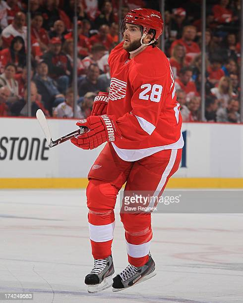 Carlos Colaiacovo of the Detroit Red Wings follows the play against the Chicago Blackhawks during Game Four of the Western Conference Semifinals...