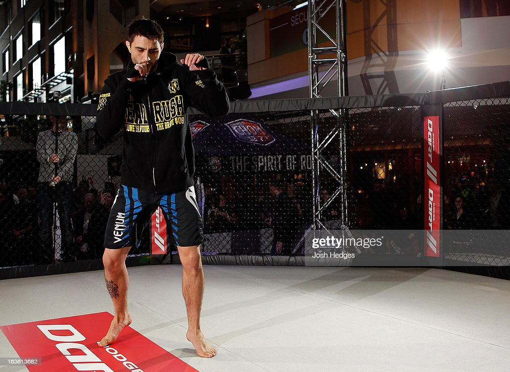 Carlos Condit conducts an open training session for fans and media ahead of his UFC 158 bout at Complexe Desjardins on March 13, 2013 in Montreal, Quebec, Canada.