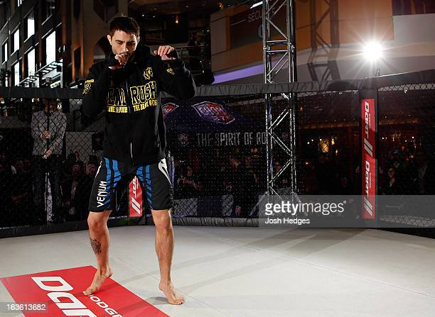 Carlos Condit conducts an open training session for fans and media ahead of his UFC 158 bout at Complexe Desjardins on March 13 2013 in Montreal...