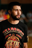 Carlos Condit holds an open training session for fans and media at Banker's Life Fieldhouse on August 26 2013 in Indianapolis Indiana