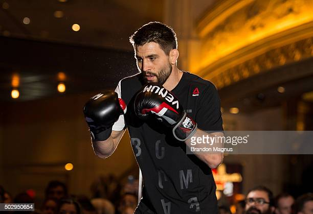 Carlos Condit holds an open training session for fans and media at the MGM Grand Hotel/Casino on December 30 2015 in Las Vegas Nevada