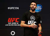 Carlos Condit interacts with fans during a QA session before the UFC 174 weighin at Rogers Arena on June 13 2014 in Vancouver Canada