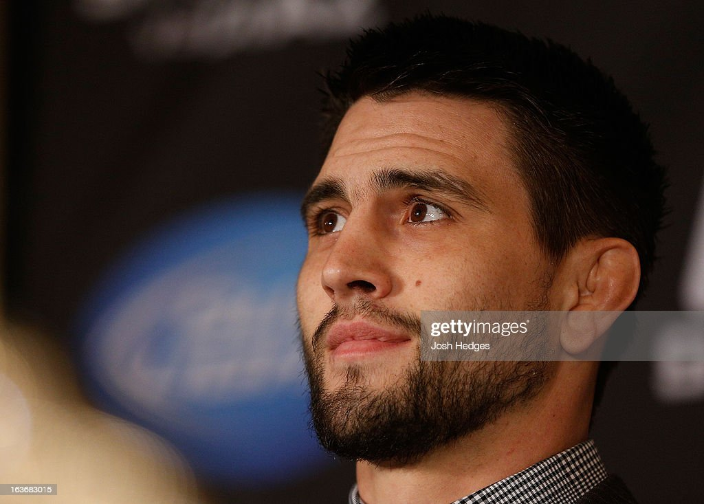 Carlos Condit interacts with media during the final press conference ahead of his UFC 158 bout at Bell Centre on March 14, 2013 in Montreal, Quebec, Canada.