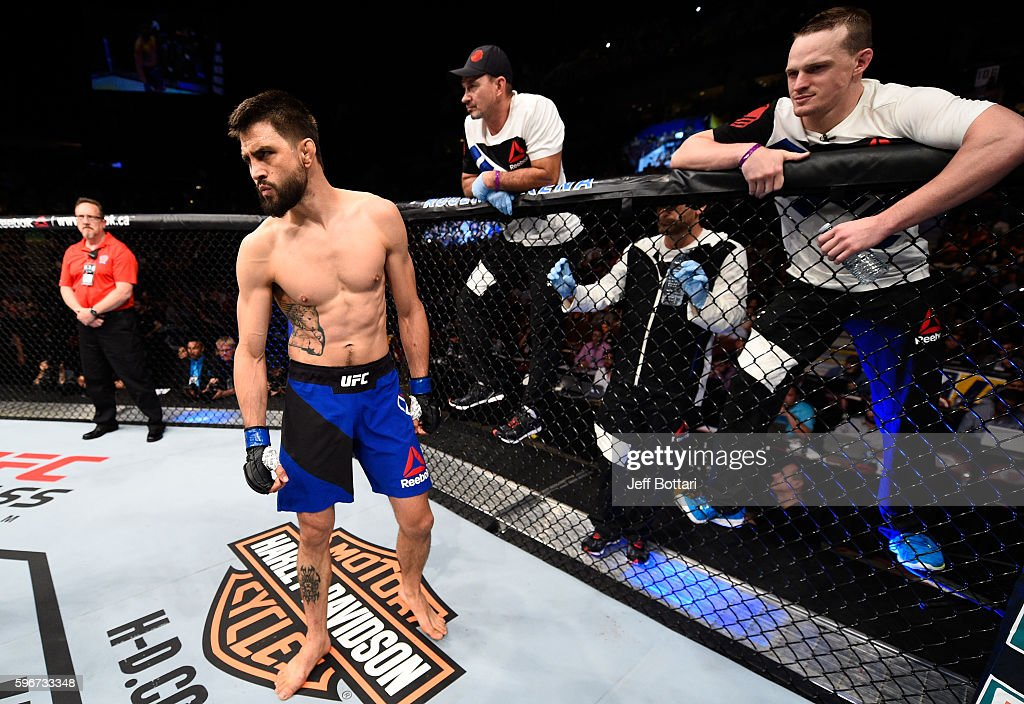 Carlos Condit of the United States enters the Octagon before facing Demian Maia of Brazil in their welterweight bout during the UFC Fight Night event at Rogers Arena on August 27, 2016 in Vancouver, British Columbia, Canada.