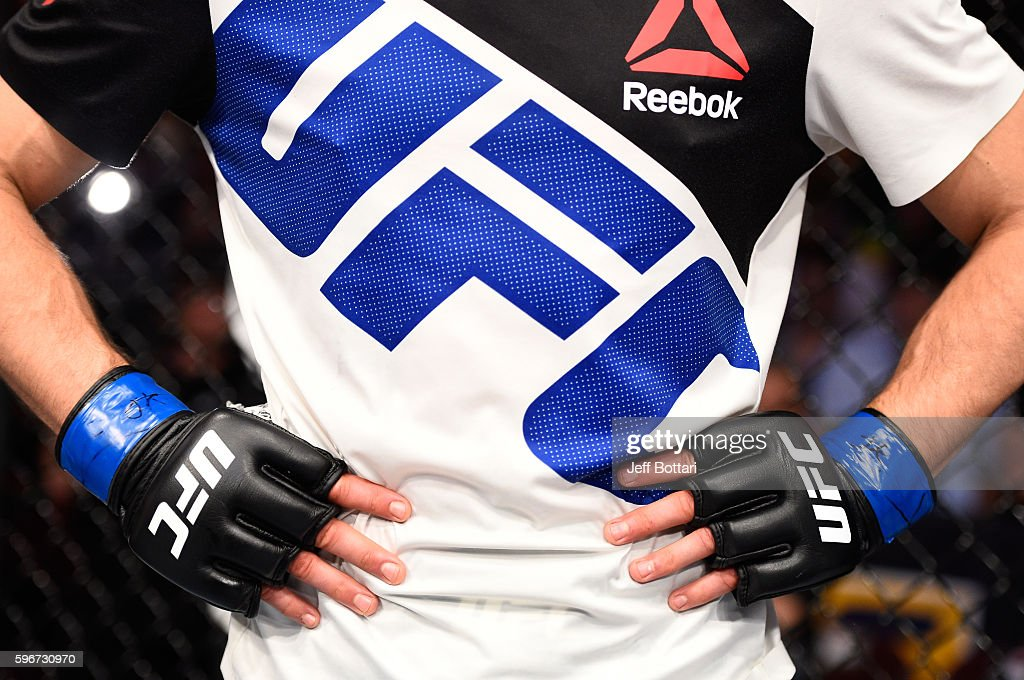 Carlos Condit of the United States reacts to his submission loss to Demian Maia of Brazil in their welterweight bout during the UFC Fight Night event at Rogers Arena on August 27, 2016 in Vancouver, British Columbia, Canada.