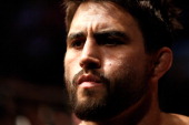 Carlos Condit prepares to enter the Octagon before his welterweight bout against Tyron Woodley at UFC 171 inside American Airlines Center on March 15...