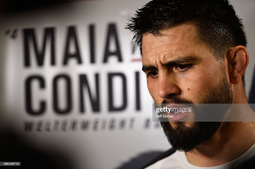 Carlos Condit speaks with the media at the Hyatt Regency Vancouver on August 25 2016 in Vancouver Canada