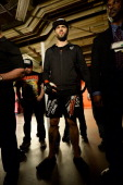 Carlos Condit stands backstage before his welterweight fight against Tyron Woodley during the UFC 171 event inside American Airlines Center on March...