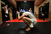 Carlos Condit warms up backstage during the UFC 195 event inside MGM Grand Garden Arena on January 2 2016 in Las Vegas Nevada