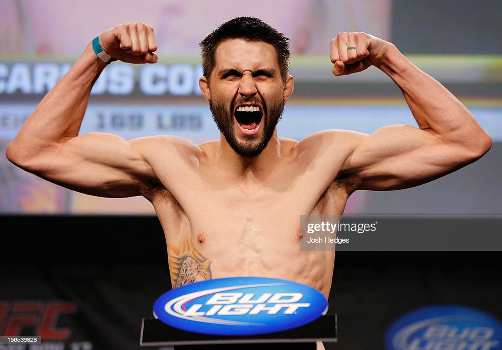 <a gi-track='captionPersonalityLinkClicked' href=/galleries/search?phrase=Carlos+Condit&family=editorial&specificpeople=7049007 ng-click='$event.stopPropagation()'>Carlos Condit</a> weighs in during the official UFC 154 weigh in at New City Gas on November 16, 2012 in Montreal, Quebec, Canada.