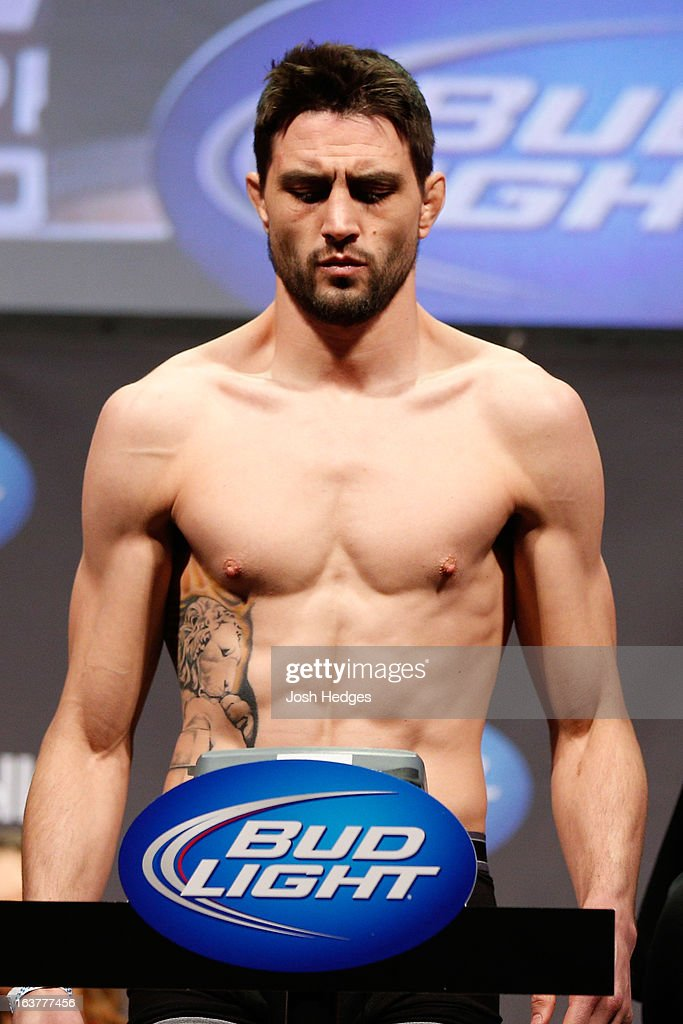 Carlos Condit weighs in during the UFC 158 weigh-in at Bell Centre on March 15, 2013 in Montreal, Quebec, Canada.