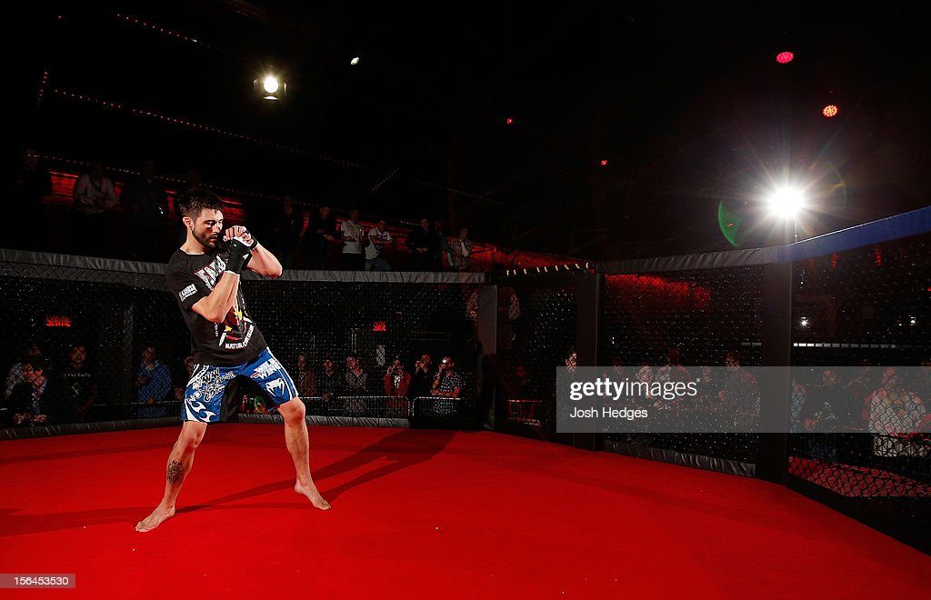 <a gi-track='captionPersonalityLinkClicked' href=/galleries/search?phrase=Carlos+Condit&family=editorial&specificpeople=7049007 ng-click='$event.stopPropagation()'>Carlos Condit</a> works out for media and fans during an open training session ahead of UFC 154 at New City Gas on November 15, 2012 in Montreal, Quebec, Canada.