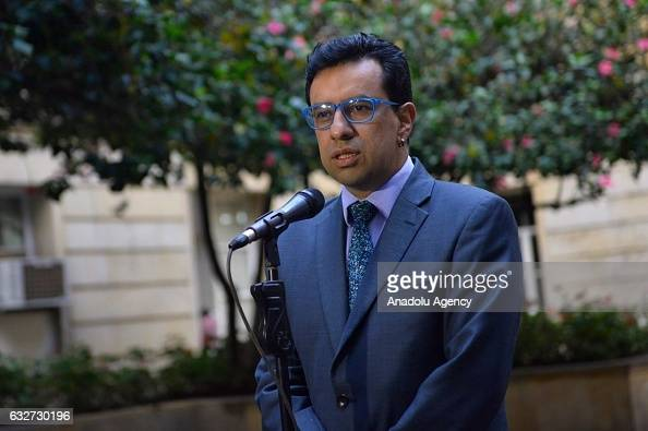 Carlos Cordoba who is in charge in the process of transition and normalization speaks to press at the Presidential Palace Casa de Narino in Bogota...
