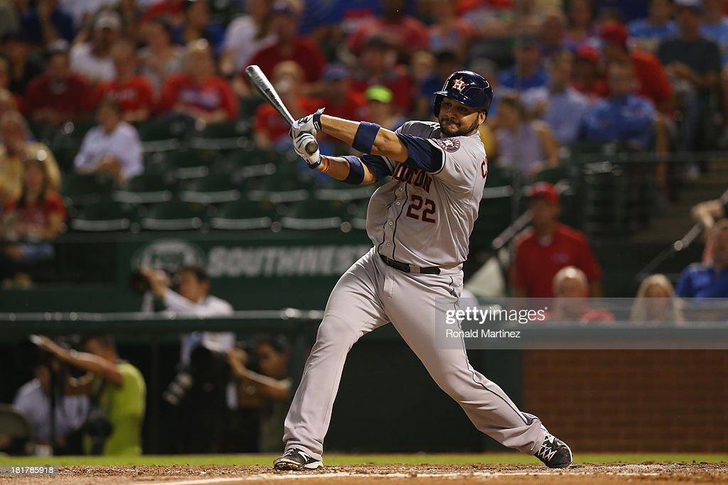 Carlos Corporan #22 of the Houston Astros at Rangers Ballpark in Arlington on September 24, 2013 in Arlington, Texas.