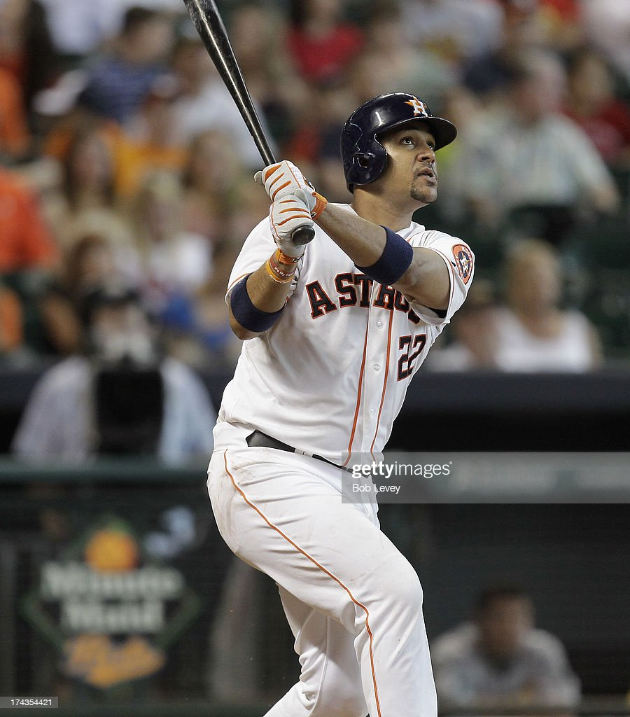 <a gi-track='captionPersonalityLinkClicked' href=/galleries/search?phrase=Carlos+Corporan&family=editorial&specificpeople=5716887 ng-click='$event.stopPropagation()'>Carlos Corporan</a> #22 of the Houston Astros hits a two-run home run in the sixth inning against the Oakland Athletics at Minute Maid Park on July 24, 2013 in Houston, Texas.