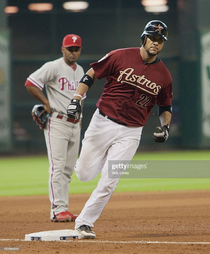 <a gi-track='captionPersonalityLinkClicked' href=/galleries/search?phrase=Carlos+Corporan&family=editorial&specificpeople=5716887 ng-click='$event.stopPropagation()'>Carlos Corporan</a> #22 of the Houston Astros homers in the sixth inning against the Philadelphia Phillies at Minute Maid Park on September 16, 2012 in Houston, Texas.