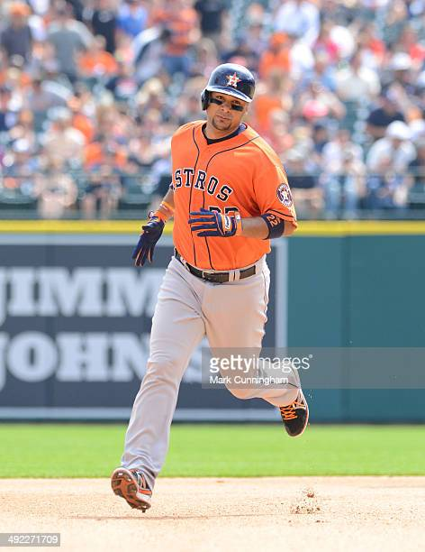 Carlos Corporan of the Houston Astros runs the bases during the game against the Detroit Tigers at Comerica Park on May 8 2014 in Detroit Michigan...