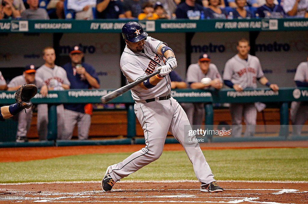 <a gi-track='captionPersonalityLinkClicked' href=/galleries/search?phrase=Carlos+Corporan&family=editorial&specificpeople=5716887 ng-click='$event.stopPropagation()'>Carlos Corporan</a> #22 of the Houston Astros singles in the first inning against the Tampa Bay Rays during the game at Tropicana Field on July 12, 2013 in St. Petersburg, Florida.