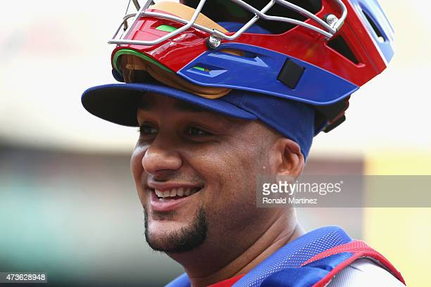 Carlos Corporan of the Texas Rangers at Globe Life Park in Arlington on May 15 2015 in Arlington Texas