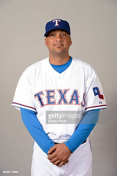Carlos Corporan of the Texas Rangers poses during Photo Day on Monday March 2 2015 at Surprise Stadium in Surprise Arizona