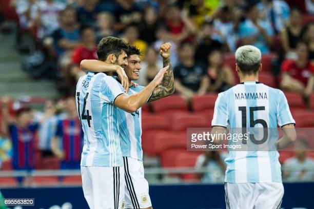 Carlos Correa of Argentina celebrating a score with Federico Fazio of Argentina during the International Test match between Argentina and Singapore...