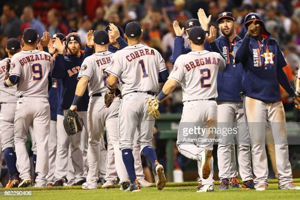 Carlos Correa of the Houston Astros celebrate after a victory over the Boston Red Sox at Fenway Park on September 29 2017 in Boston Massachusetts