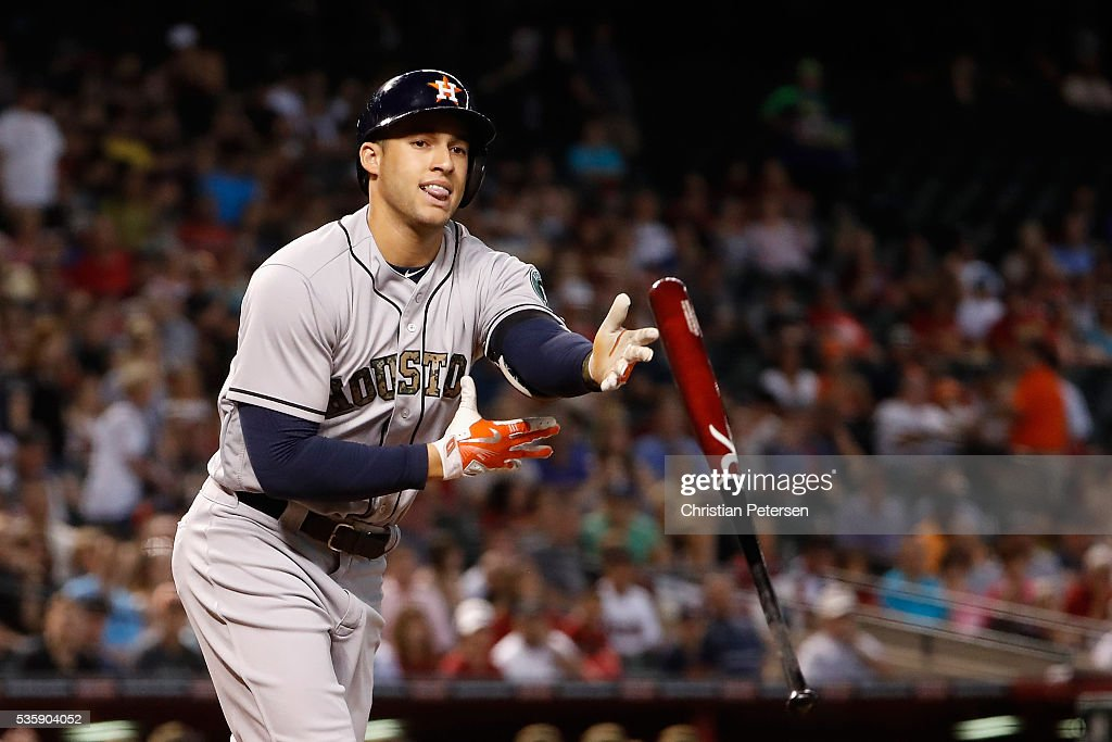 <a gi-track='captionPersonalityLinkClicked' href=/galleries/search?phrase=Carlos+Correa+-+Baseball+Player&family=editorial&specificpeople=11452157 ng-click='$event.stopPropagation()'>Carlos Correa</a> #1 of the Houston Astros flips his bat after drawing a walk against the Arizona Diamondbacks during the first inning of the MLB game at Chase Field on May 30, 2016 in Phoenix, Arizona.