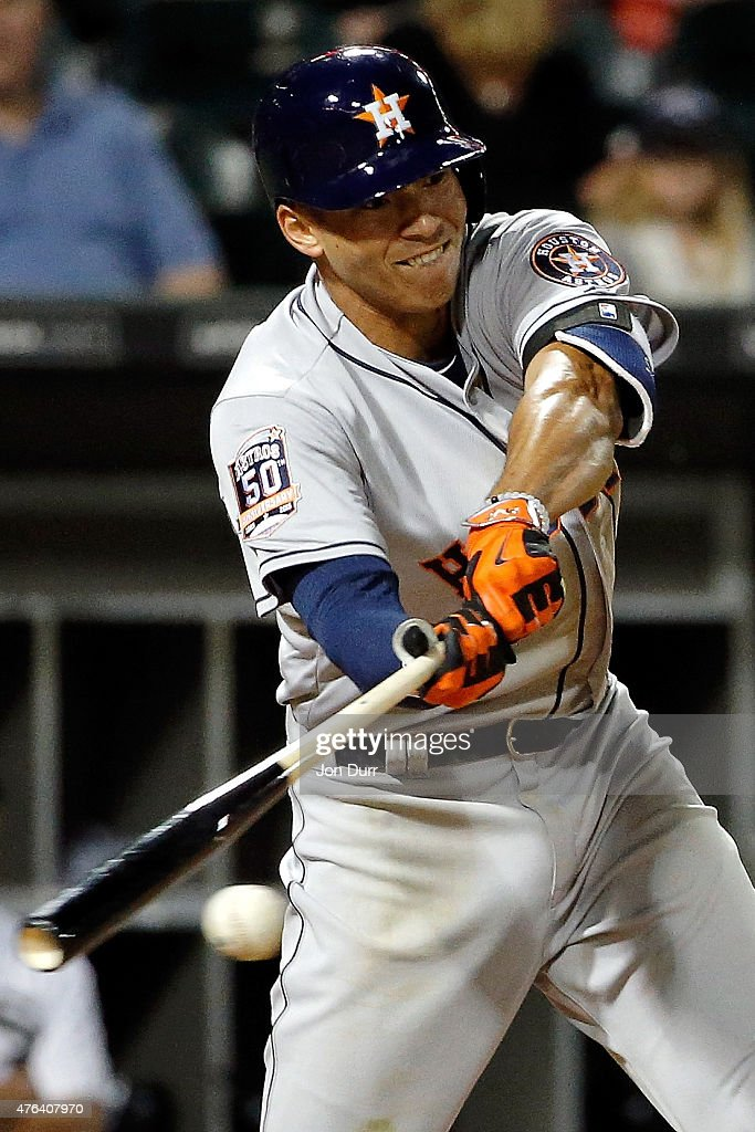 Carlos Correa #1 of the Houston Astros grounds out against the Chicago White Sox during the seventh inning on June 8, 2015 at U.S. Cellular Field in Chicago, Illinois. The Chicago White Sox won 3-1.