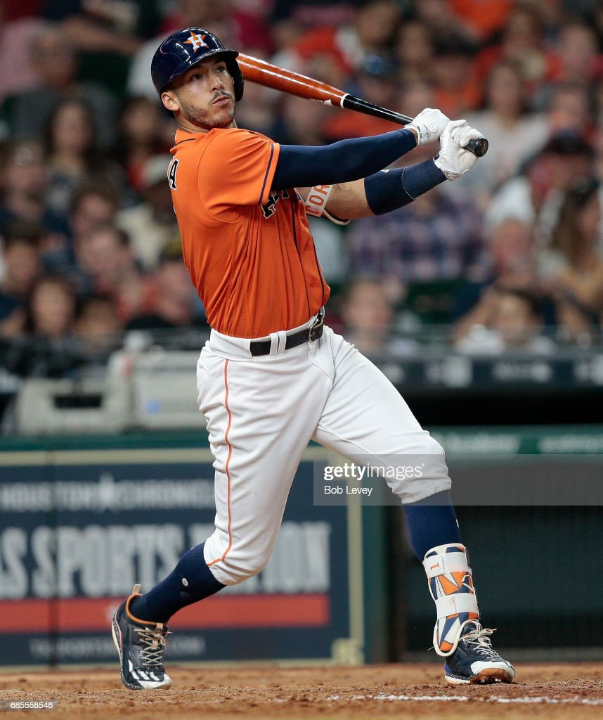 Carlos Correa #1 of the Houston Astros hits a home run in the sixth inning against the Cleveland Indians at Minute Maid Park on May 19, 2017 in Houston, Texas.