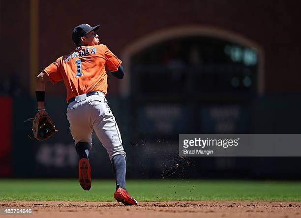Carlos Correa of the Houston Astros makes a play at shortstop against the San Francisco Giants during the game at ATT Park on Wednesday August 12...
