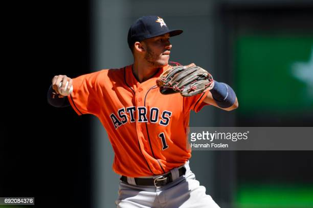 Carlos Correa of the Houston Astros makes a play at shortstop against the Minnesota Twins during the game on May 31 2017 at Target Field in...