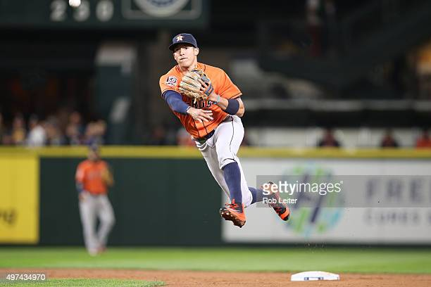 Carlos Correa of the Houston Astros plays shortstop during the game against the Seattle Mariners at Safeco Field on September 29 2015 in Seattle...