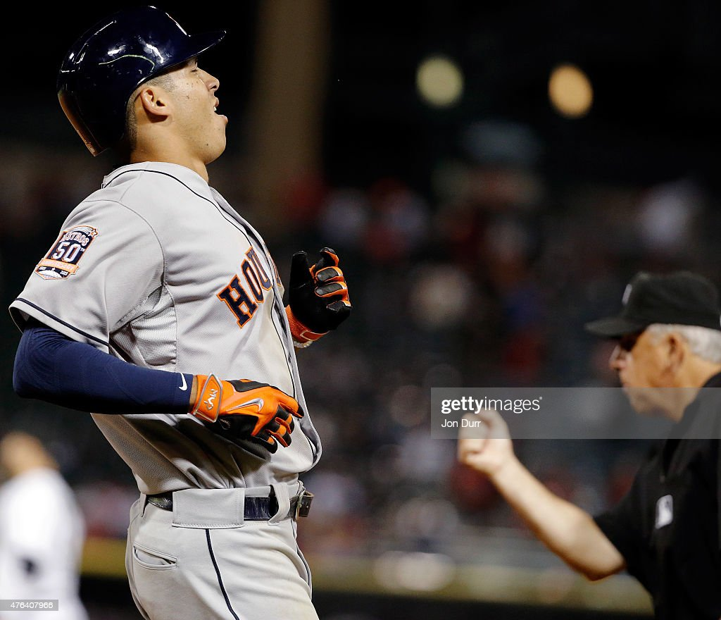Carlos Correa #1 of the Houston Astros reacts after grounding out against the Chicago White Sox during the seventh inning on June 8, 2015 at U.S. Cellular Field in Chicago, Illinois. The Chicago White Sox won 3-1.