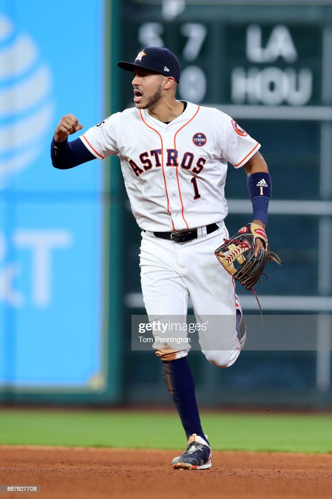 Carlos Correa #1 of the Houston Astros reacts during the sixth inning against the Los Angeles Dodgers in game four of the 2017 World Series at Minute Maid Park on October 28, 2017 in Houston, Texas.