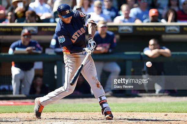 Carlos Correa of the Houston Astros swings at a pitch during the fifth inning of a spring training game against the Pittsburgh Pirates at McKechnie...