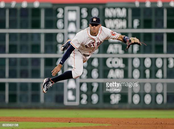 Carlos Correa of the Houston Astros throws out Ian Desmond of the Texas Rangers in the eleventh inning at Minute Maid Park on September 12 2016 in...