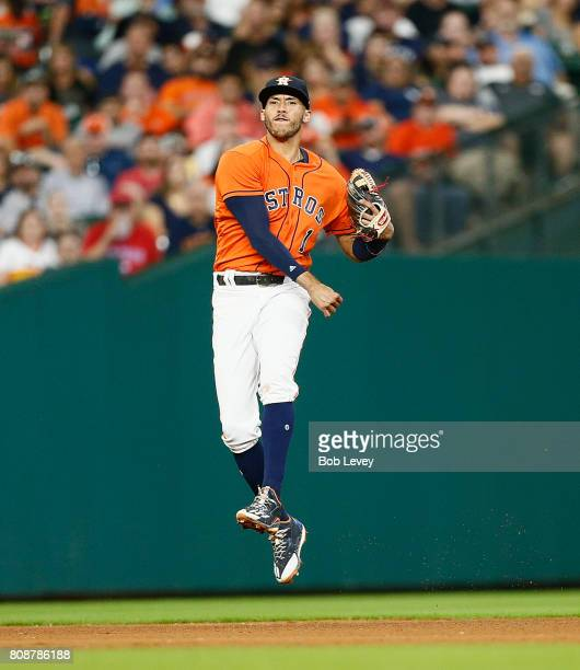 Carlos Correa of the Houston Astros throws to first base from deep shortstop against the New York Yankees at Minute Maid Park on June 30 2017 in...