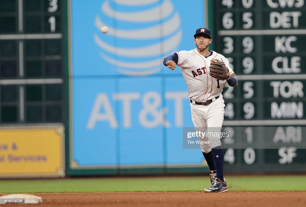 Carlos Correa #1 of the Houston Astros throws to first in the seventh inning against the Seattle Mariners at Minute Maid Park on September 16, 2017 in Houston, Texas.
