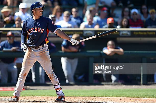 Carlos Correa of the Houston Astros waits for a pitch during a spring training game against the Pittsburgh Pirates at McKechnie Field on March 6 2016...