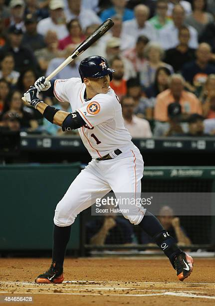 Carlos Correa of the Houston Astros waits for a pitch in the first inning during their game against the Tampa Bay Rays at Minute Maid Park on August...