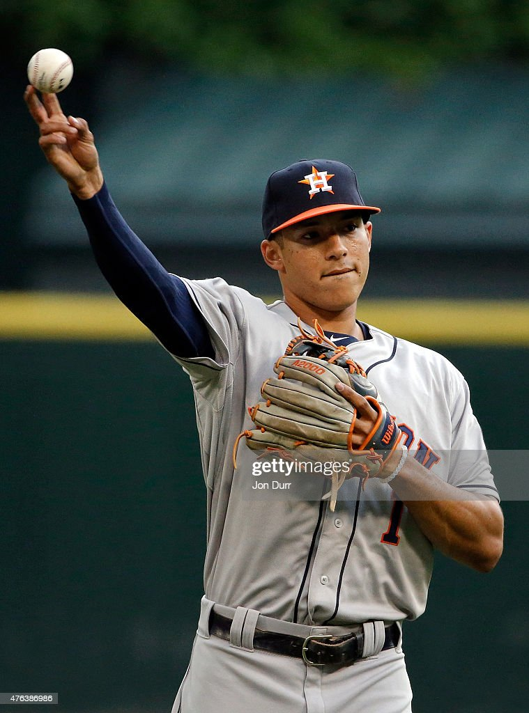 Carlos Correa #1 of the Houston Astros warms up prior to the game against the Chicago White Sox on June 8, 2015 at U.S. Cellular Field in Chicago, Illinois.