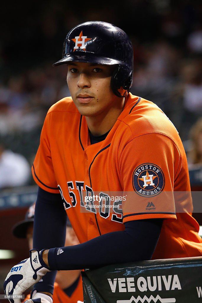 <a gi-track='captionPersonalityLinkClicked' href=/galleries/search?phrase=Carlos+Correa+-+Baseball+Player&family=editorial&specificpeople=11452157 ng-click='$event.stopPropagation()'>Carlos Correa</a> #1 of the Houston Astros watches from the dugout during the first inning of the MLB game against the Arizona Diamondbacks at Chase Field on May 31, 2016 in Phoenix, Arizona.