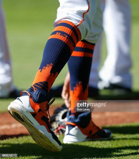 Carlos Correa of the Houston Astros wears a pair of specially designed socks at Minute Maid Park on April 5 2017 in Houston Texas