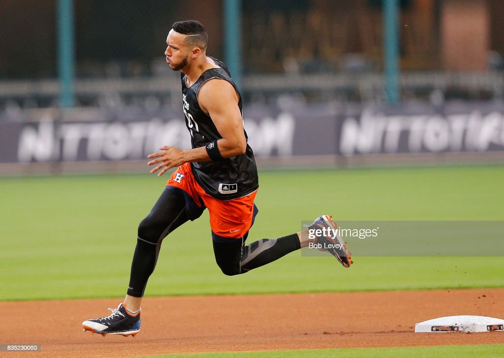 Carlos Correa #1 of the Houston Astros works on his conditioning at Minute Maid Park on August 18, 2017 in Houston, Texas. Correa has been out of the lineup after haveing surgery to repair a ligament on his left thumb.
