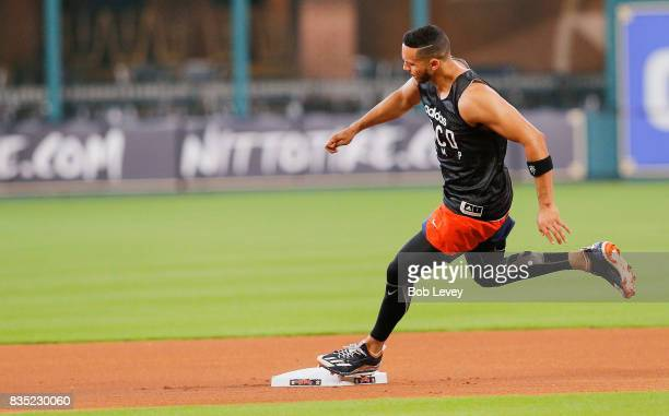 Carlos Correa of the Houston Astros works on his conditioning at Minute Maid Park on August 18 2017 in Houston Texas Correa has been out of the...