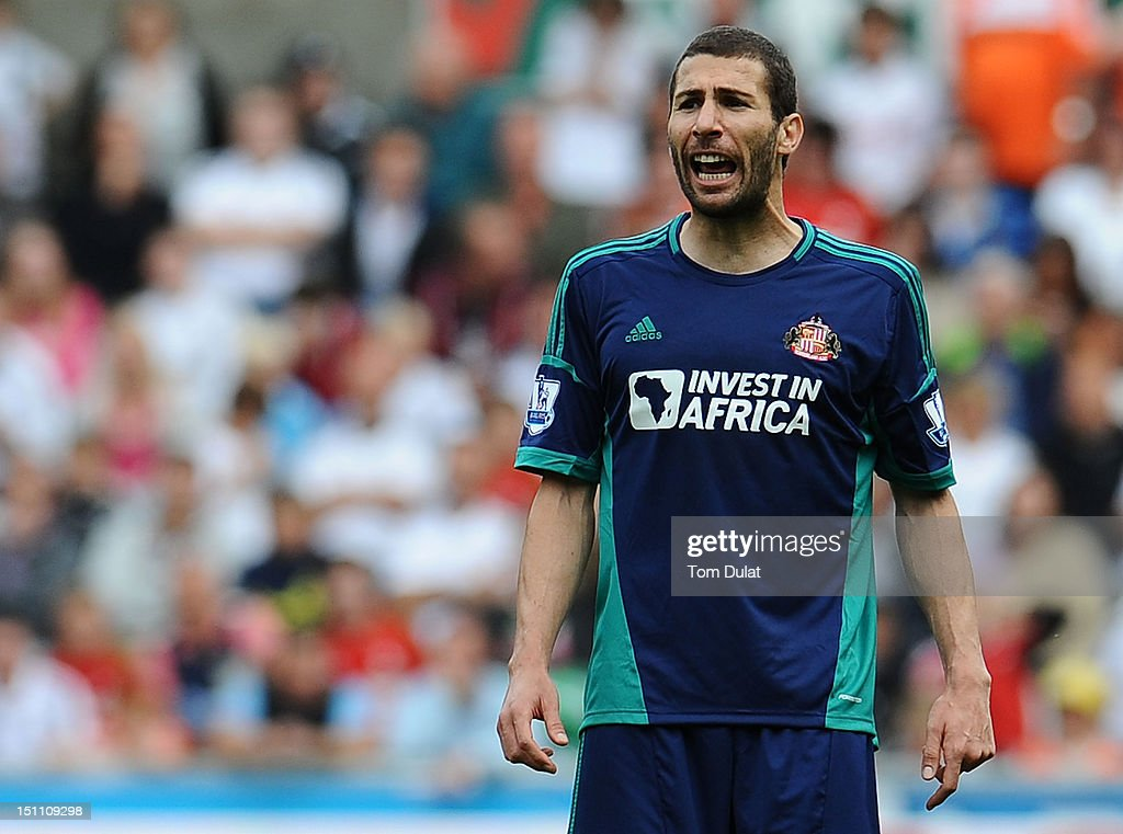 Carlos Cuellar of Sunderland during the Premier League match between Swansea City and Sunderland at Liberty Stadium on September 1, 2012 in Swansea, Wales.