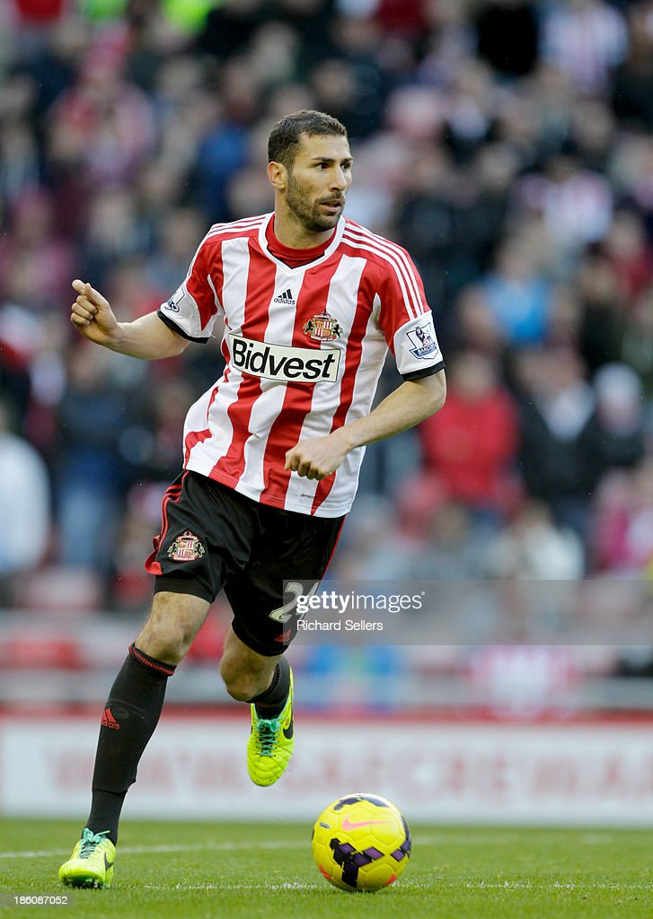 Carlos Cuellar of Sunderland in action during the Barclays Premier League match between Sunderland and Newcastle United at Stadium of Light on October 27, 2013 in Sunderland, England.