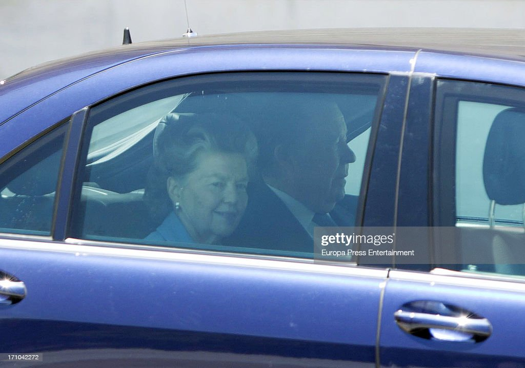 Carlos de Borbon Dos-Sicilias and Ana of France are seen leaving Royal Palace after the mass commemorating the centenary of the birth of Don Juan de Borbon on June 20, 2013 in Madrid, Spain.